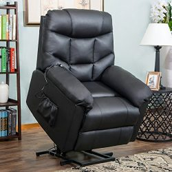 Harper&Bright Designs Power Lift Recliner Chair Living Room Sofa (Black PU) Soft Fabric