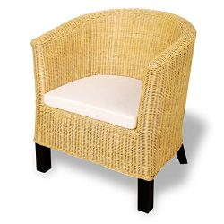 vidaXL Rattan Wicker Armchair Accent Woven Chair Living Room Seat Mango Wood
