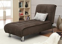 Coaster Ellwood Transitional Brown Living Room Chaise Sleeper Sofa Bed