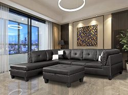 WINPEX 3 Piece Nail Head Faux Leather Sectional Sofa +Ottoman Storage Foot Stool | Left Facing O ...