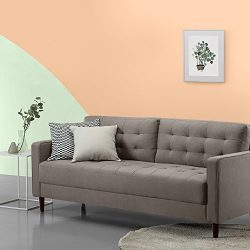 Zinus Mid-Century Upholstered 76in Sofa/Living Room Couch, Stone Grey Weave