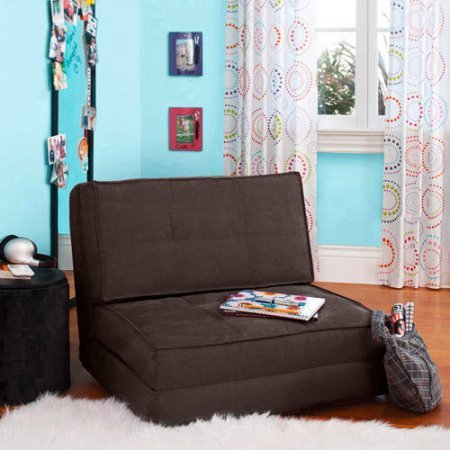 Flip Chair Convertible Sleeper Dorm Bed Couch Lounger Sofa in Brown