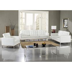 Modway Loft 5 Piece Sofa Set in White