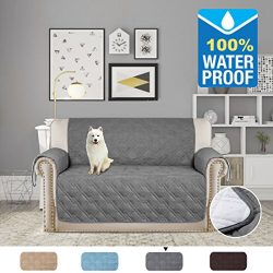 H.VERSAILTEX Full Waterproof Quilted Furniture Cover/Prevent Stains for 2 Seats Sofa, Non slip K ...