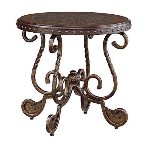 Ashley Furniture Signature Design – Rafferty End Table – Round – Vintage Brown