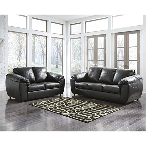 Flash Furniture Benchcraft Fezzman Living Room Set in Black Leather
