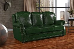 Leather Match Sofa 3 Seater, Living Room Couch with Nailhead Trim (Green)