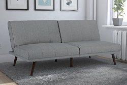 DHP Lone Pine Linen Upholstered Futon, Multi-Position and Split-Back Design, Grey