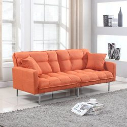 Divano Roma Furniture Collection – Modern Plush Tufted Linen Fabric Splitback Living Room  ...