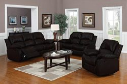 Divano Roma Furniture Traditional Classic Reclining Sofa Set – Real Grain Leather –  ...