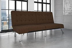DHP Emily Futon Couch Bed, Modern Sofa Design Includes Sturdy Chrome Legs and Rich Linen Upholst ...