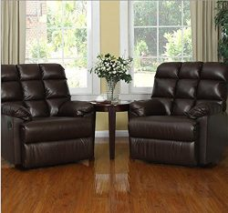 2 Wall Hugger Microfiber Biscuit Back Renu Leather Recliner Chair Brown