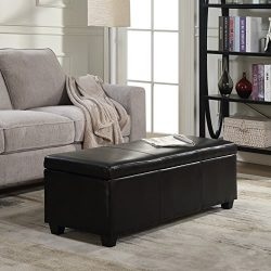 Belleze 48″ inch Long Rectangular Upholstered Storage Elegant Ottoman Bench, Black
