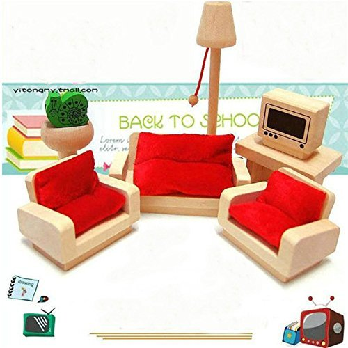 Wooden Doll House Living Room Set Sofa Table Furniture