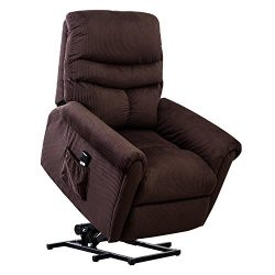 BONZY Lift Recliner Chair Power Lift Chair with Gentle Motor Long Hair Micro Fiber – Chocolate