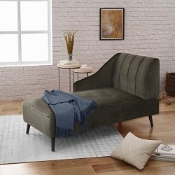 Great Deal Furniture | Indira | New Velvet Chaise Lounge | in Grey