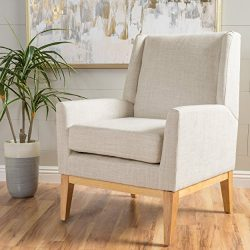 Archibald | Mid Century Modern Fabric Accent Chair | in Beige