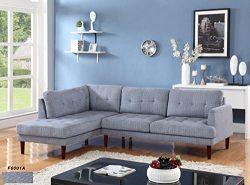 Beverly Fine Furniture SH6001A Emeral Left Facing Linen Sectional Sofa, Light Blue
