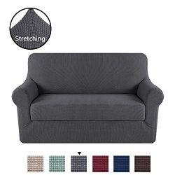 H.VERSAILTEX High Stretch Rich Jacquard 2-Piece Sofa Cover/Loveseat Furniture Cover/Slipcover, M ...