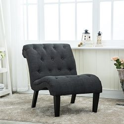 Haobo Home Linen Fabric Armless Accent Chair for Living Room (Drak Grey)