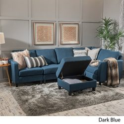 Carolina Dark Blue Fabric Sectional Couch with Storage Ottoman