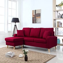 Divano Roma Furniture Mid Century Modern Linen Fabric Small Space Sectional Sofa with Reversible ...