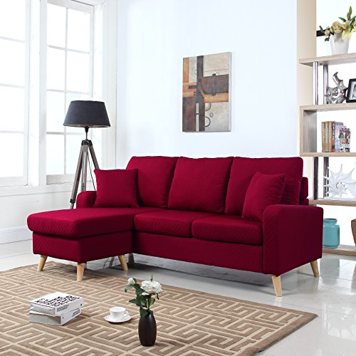 Sectional Sofa Couch Reversible Chaise Ottoman Furniture: Divano Roma Furniture Mid Century Modern Linen Fabric
