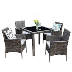 Wisteria Lane 5PCS Patio Dining Table Set, Outdoor Conversation Set Glass Table with Cushioned W ...