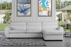 Modern Bonded Leather Sectional Sofa, Large Living Room L Shape Couch (White)