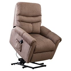 BONZY Lift Recliner Chair Power Lift Chair with Gentle Motor Plushed Cover – Camel