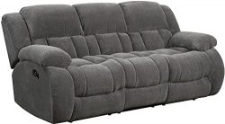 Coaster Weissman Casual Three Seat Pillow Padded Reclining Sofa, Grey