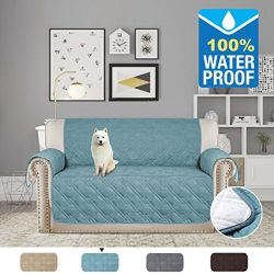 H.VERSAILTEX 100% Waterproof Plush Furniture Protector Slipcovers for Dogs Cats Stay in Place 75 ...