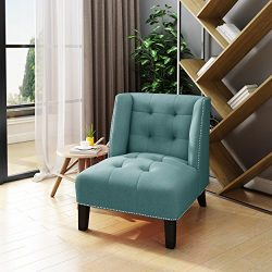 Teresa Tufted Wingback Blue Fabric Accent Chair