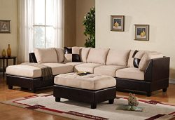 Case Andrea Milano 3-Piece Microfiber Faux Leather Sectional Sofa with Ottoman, Beige