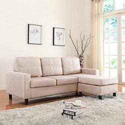 Moderne Livinf Reversible Linen Fabric Sectional Sofa, Beige