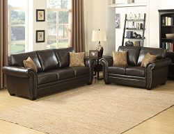 AC Pacific Louis Collection Traditional 2-Piece Upholstered Leather Living Room Set with Sofa, L ...