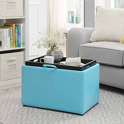 Convenience Concepts Accent Storage Ottoman, Teal