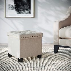 Nathan James 71103 Foldable Storage Ottoman Foot Rest and Seat, Cube with Feet, Beige Fabric/Woo ...