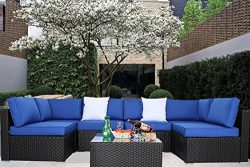 JETIME Outdoor Black Woven Rattan Couch Wicker 7PCS Sectional Conversation Sofa Set Lawn Garden  ...
