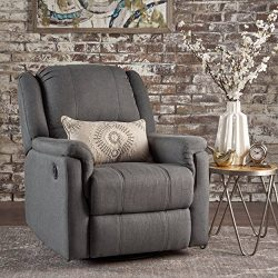 GDF Studio Jemma Tufted Fabric Swivel Gliding Recliner Chair (Charcoal)