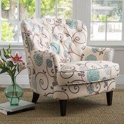 Christopher Knight Home 299126 Tafton Arm Chair, White/Blue
