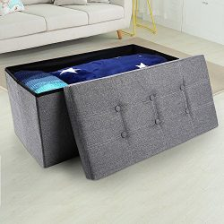 epeanhome Storage Ottoman,Folding Storage Bench, Linen-like Fabric Foldable Stool Thickening Spo ...