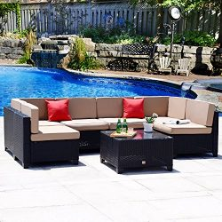 Cloud Mountain No Tax 7 PC Outdoor Patio Rattan Wicker Sectional Sofa Summer Backyard Furniture  ...