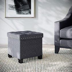 Nathan James 71102 Payton Foldable Storage Ottoman Foot Rest and Seat, Cube with Feet, Gray Fabr ...
