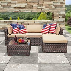 PATIOROMA Outdoor Furniture Sectional Sofa Set (5-Piece Set) All-Weather Brown PE Wicker with Be ...