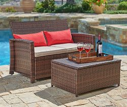 Suncrown Outdoor Furniture Wicker Love-seat with Coffee Table (2-Piece Set) Built-in Storage Bin ...