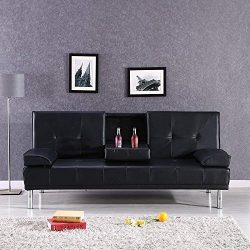 Mecor Convertible Futon Sofa Bed with Armrest-Full Up and Down Sofa Sleeper/Recliner Couch with  ...