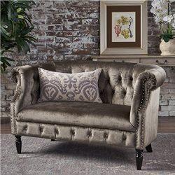 Melaina Grey Velvet Loveseat – Tufted Rolled Arm Velvet Chesterfield Loveseat Couch