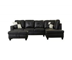 Home Garden Collections 3 Piece Faux Leather Contemporary Right-facing Sectional Sofa Set with O ...