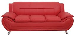 Container Furniture Direct S5396-S+C Michael Sofa and Chair Set, Red